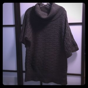 Dark olive green wool turtleneck sweater tunic